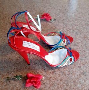 Vintage Sesto Meucci strappy heels red 8.5